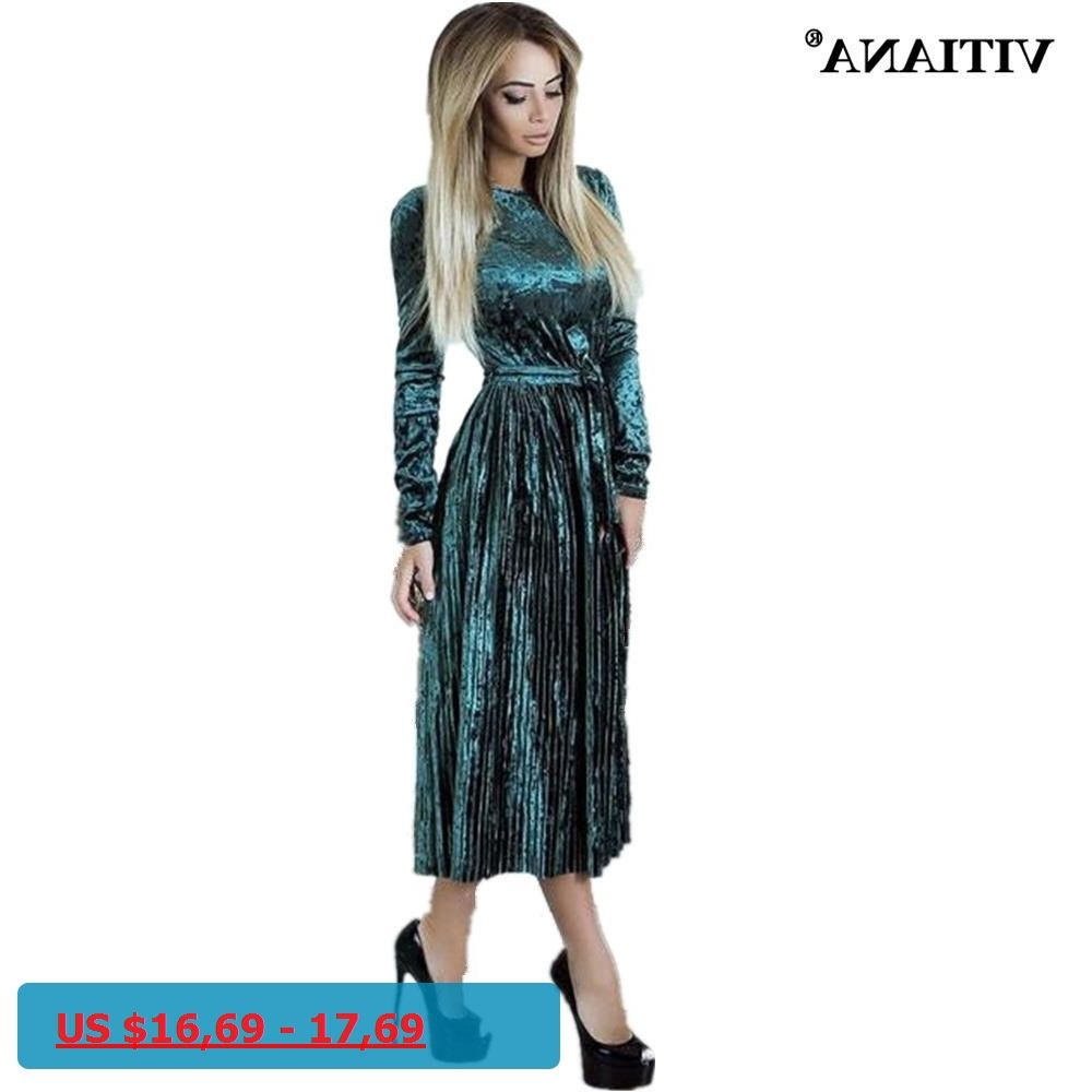Vitiana women maxi long casual velvet dress female autumn green blue
