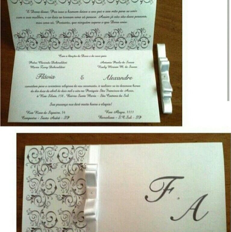 Convite na folha A4 dobrado ao meio, fechado com fita se cetim