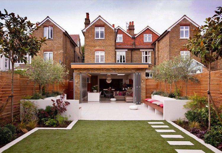 reihenhausgarten mit terrasse und rasenfläche gestalten | haus, Gartenarbeit ideen