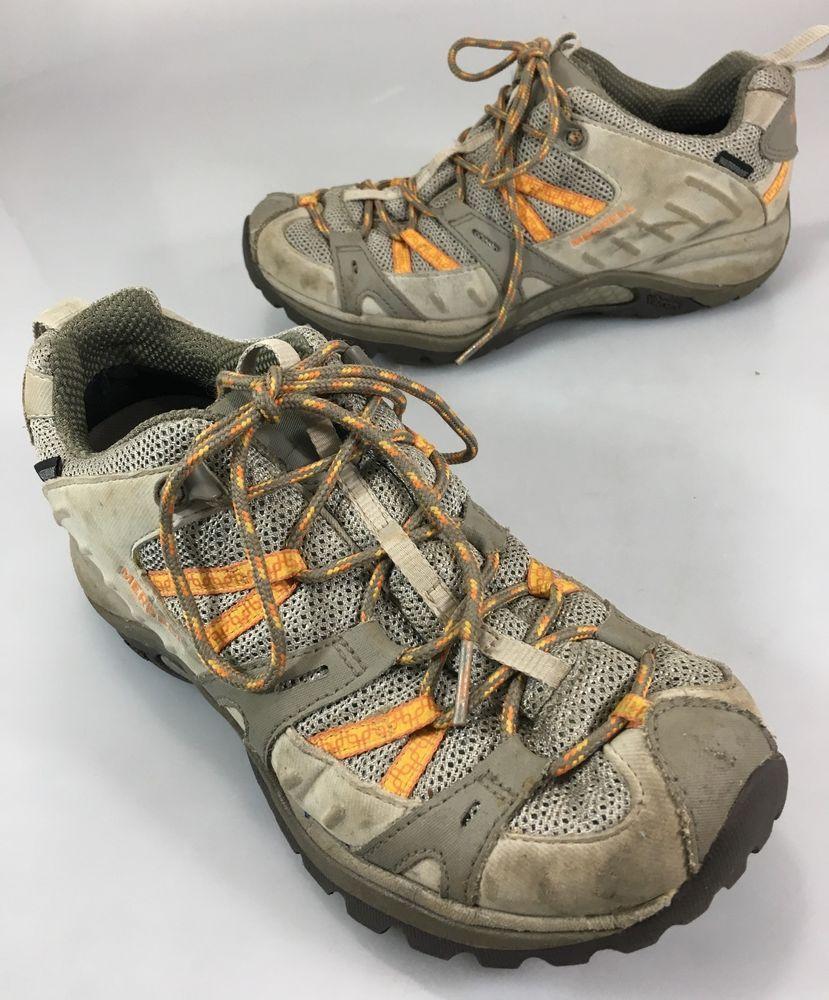8caa6ed5cd5f Merrell Womens 8 Hiking Trail Shoes Brindle Aluminum Vibram Soles  Waterproof  Merrell  WalkingHikingTrail