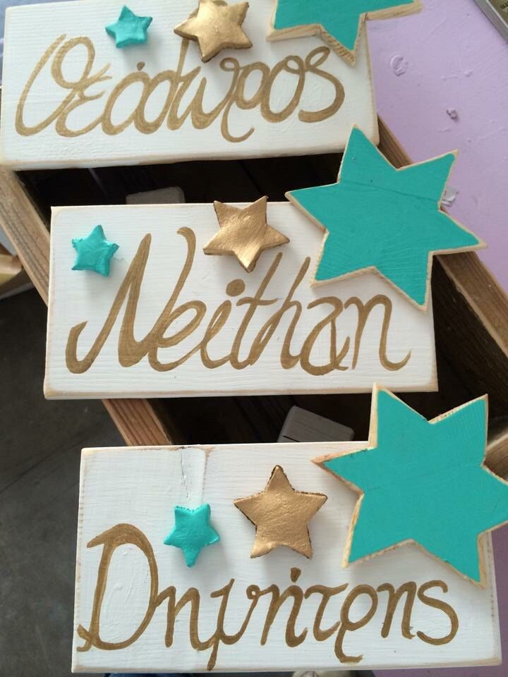 A personal favourite from my Etsy shop https://www.etsy.com/listing/270586648/name-signs-door-hanger