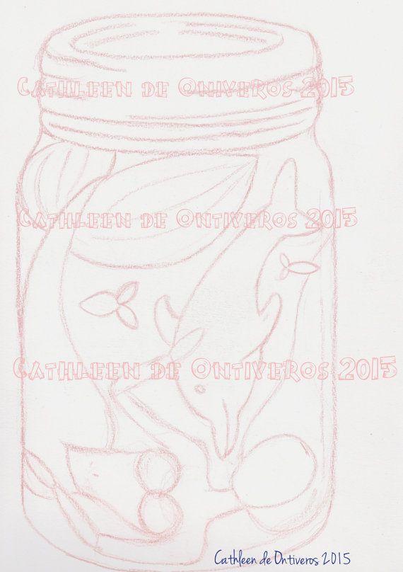 Mermaid in a jar Digital stamp template by Cathleendeontiveros