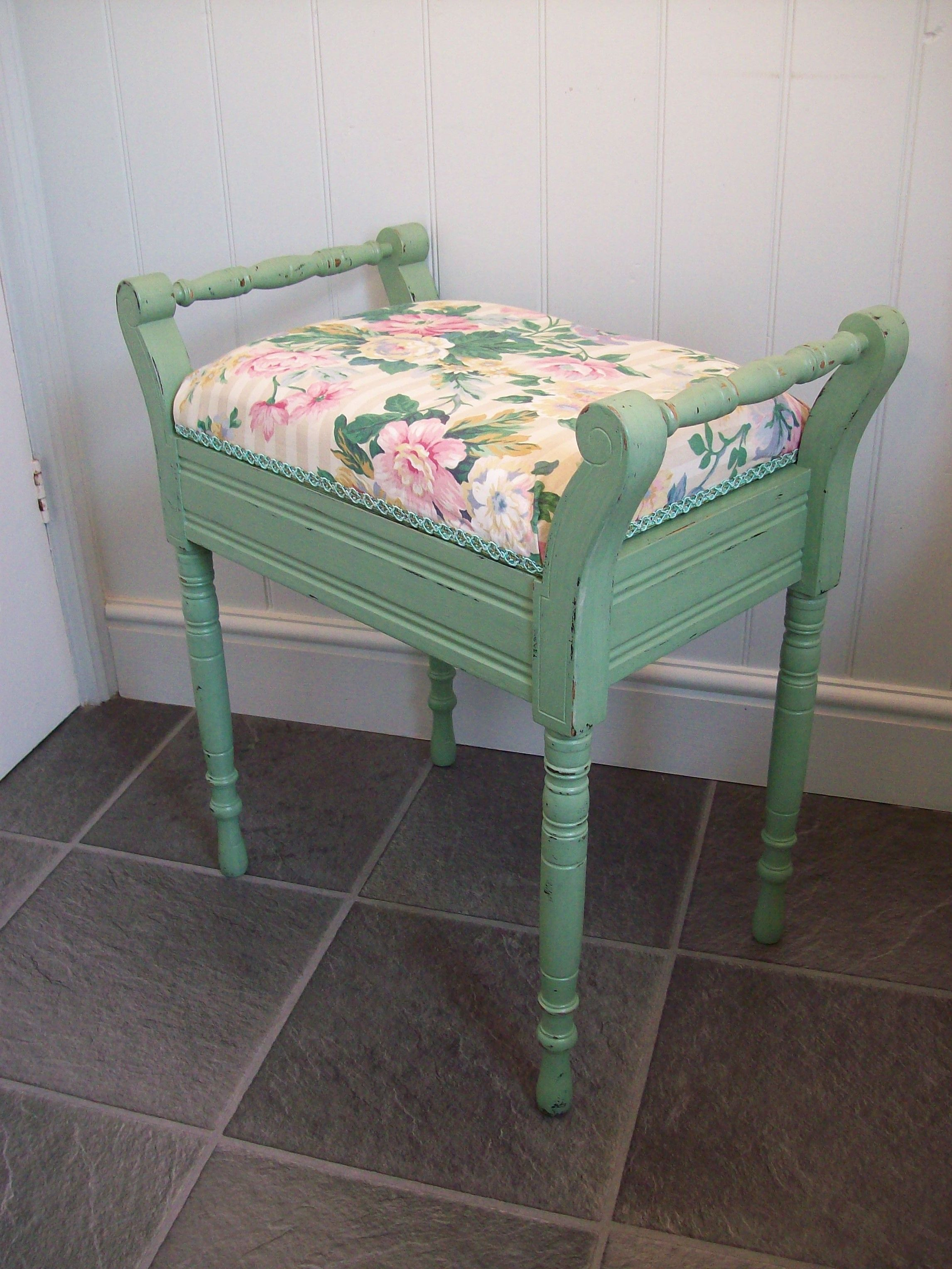 Rescued Piano Stool Re Painted In Shabby Chic Green And Re Covered In Vintage Ros Shabby Chic Furniture Painting French Chic Furniture Shabby Chic Furniture