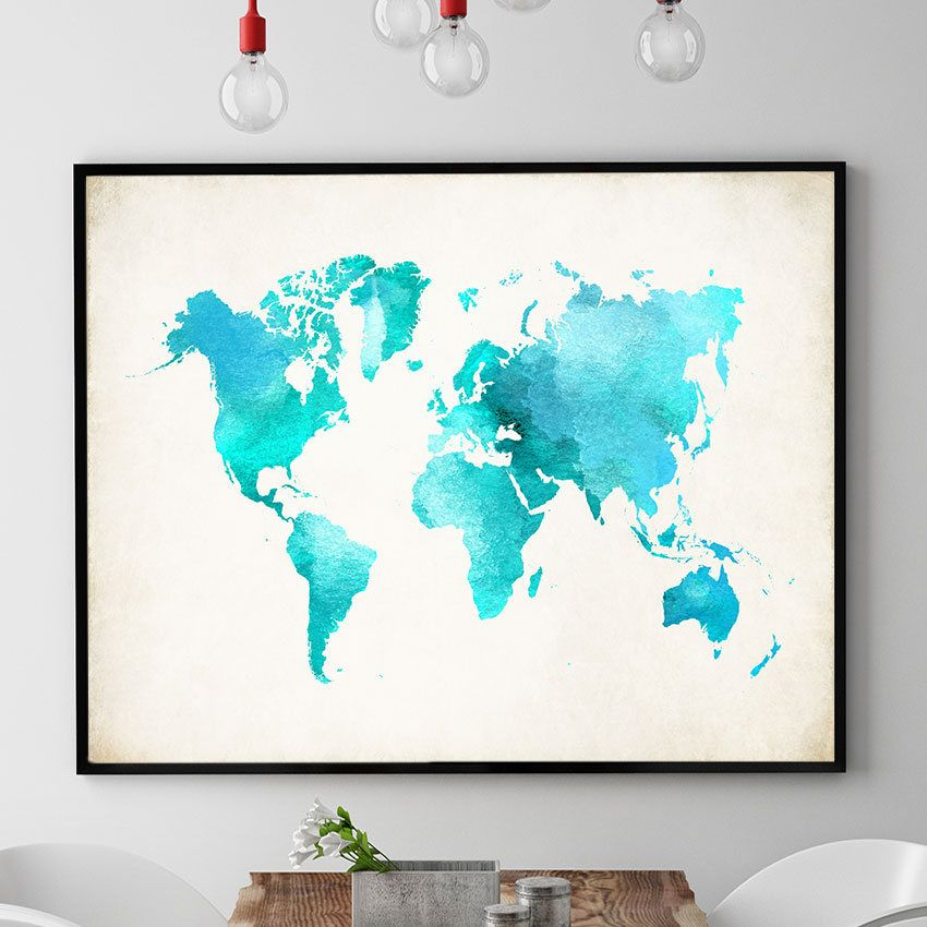 Watercolour world map print world map poster world map wall art watercolour world map print world map poster world map wall art world map art work map gift kids room wall art decor by pointdot on etsy gumiabroncs Image collections