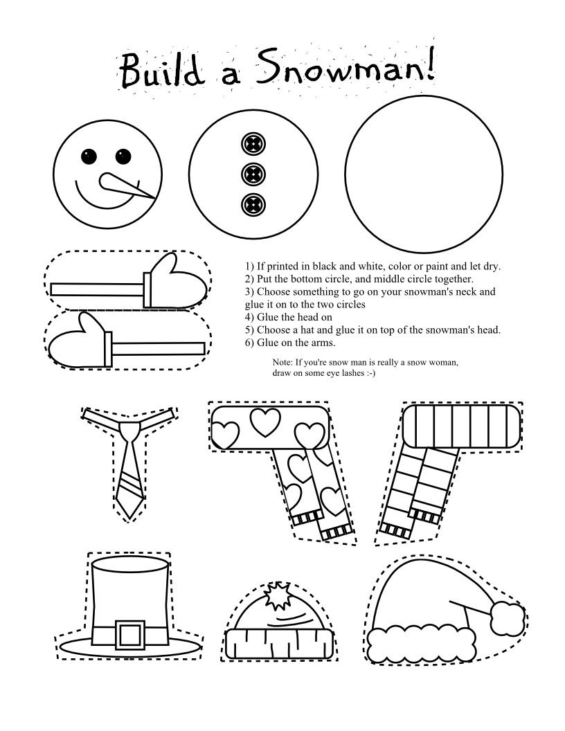 smarty pants fun printables printable snowman and snow woman arts and craft for kids - Printables Kids