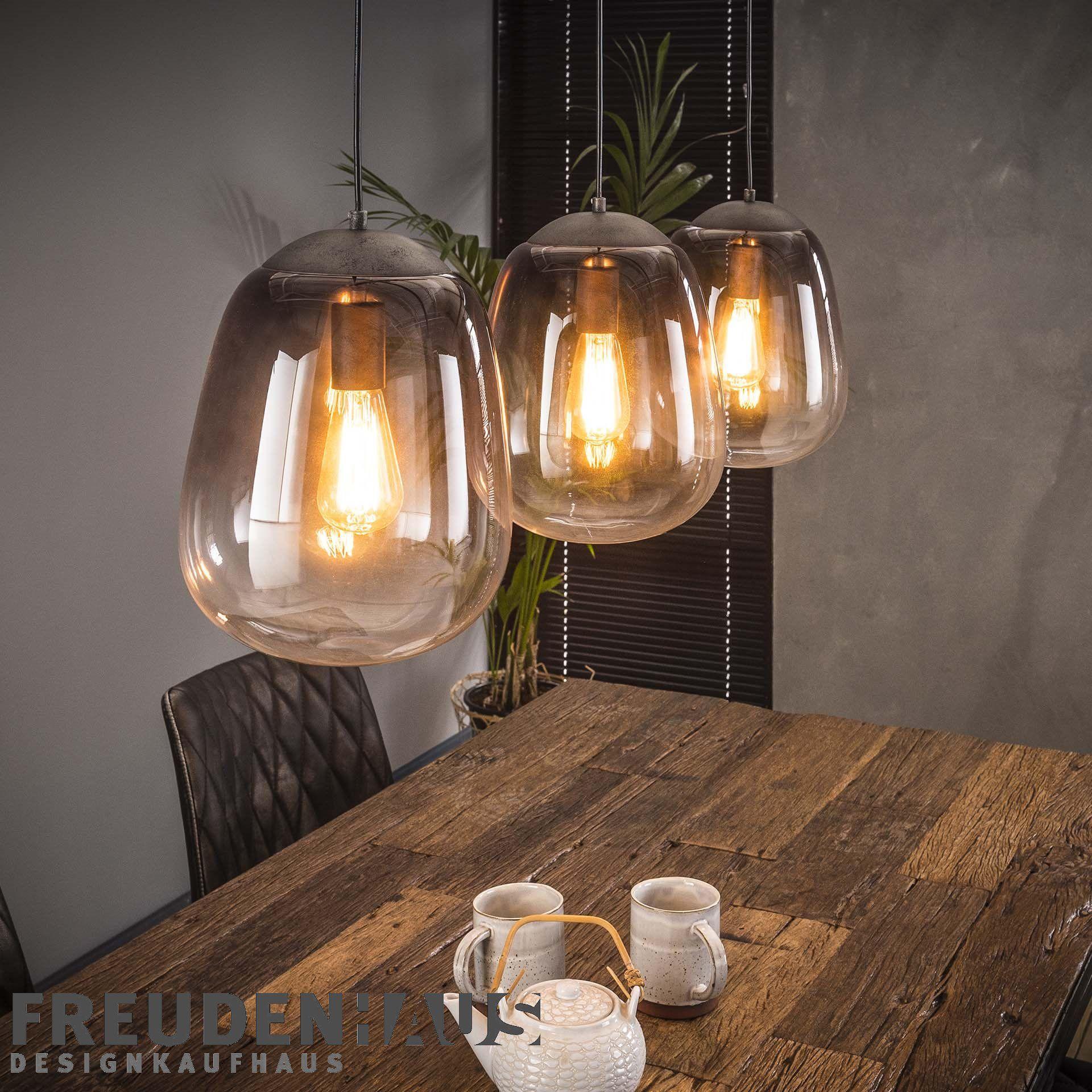 Hangelampe Shaded 3er Industrial Getontes Glas Beleuchtung Hangelampen Freudenhaus Designkaufhaus Rauchglas Industrie Stil Lampen Hange Lampe