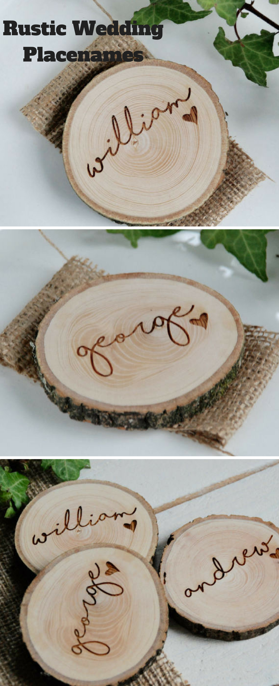 Beautiful Hand Made Rustic Table Place Setting Name Tags. Perfect ...