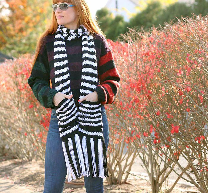 FREE Knitting Pattern for this Kate Spade Chunky Stripe Pocket Scarf ...