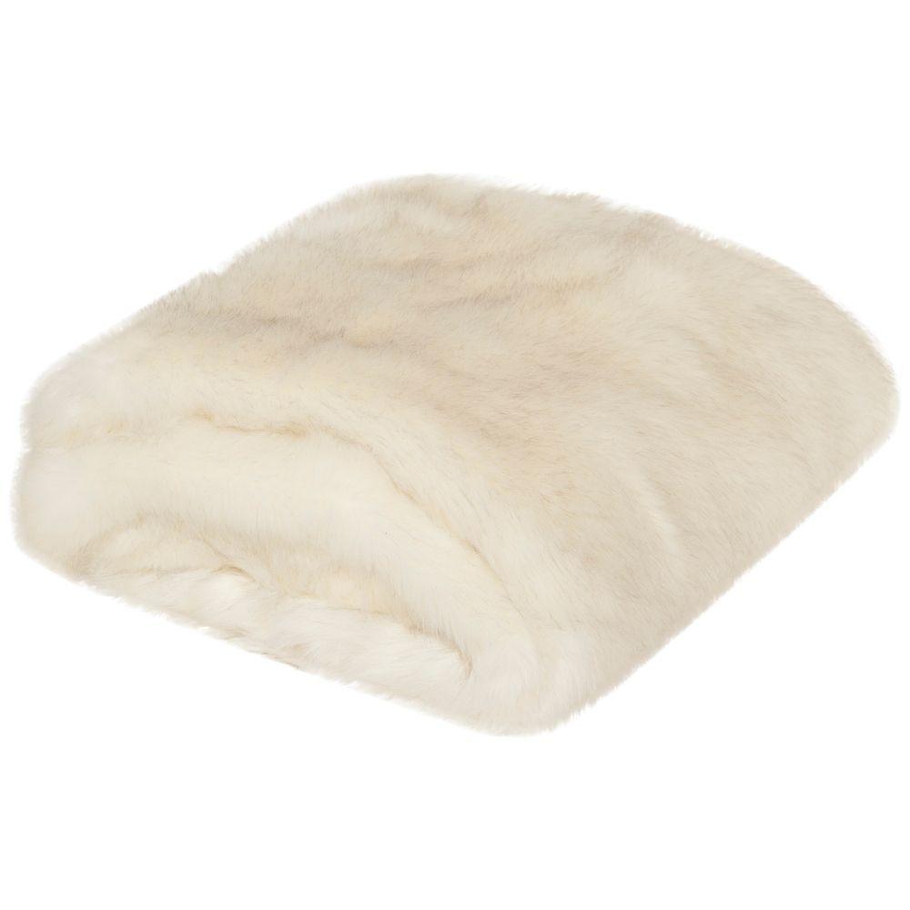 Safavieh White Faux Shadow Fox Throw Blanket - Style # 1M425