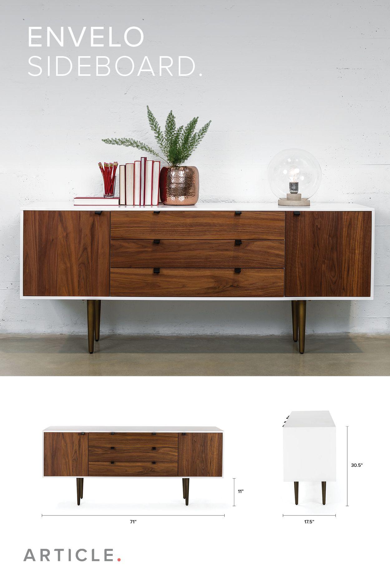 White And Walnut Sideboard Bronze Legs Article Envelo Modern