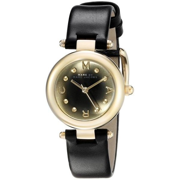 Marc by Marc Jacobs Dotty Analog Display Analog Quartz Black Watch ($225) ❤ liked on Polyvore featuring jewelry, watches, quartz watches, quartz wrist watch, quartz jewelry, water resistant watches and polka dot watches