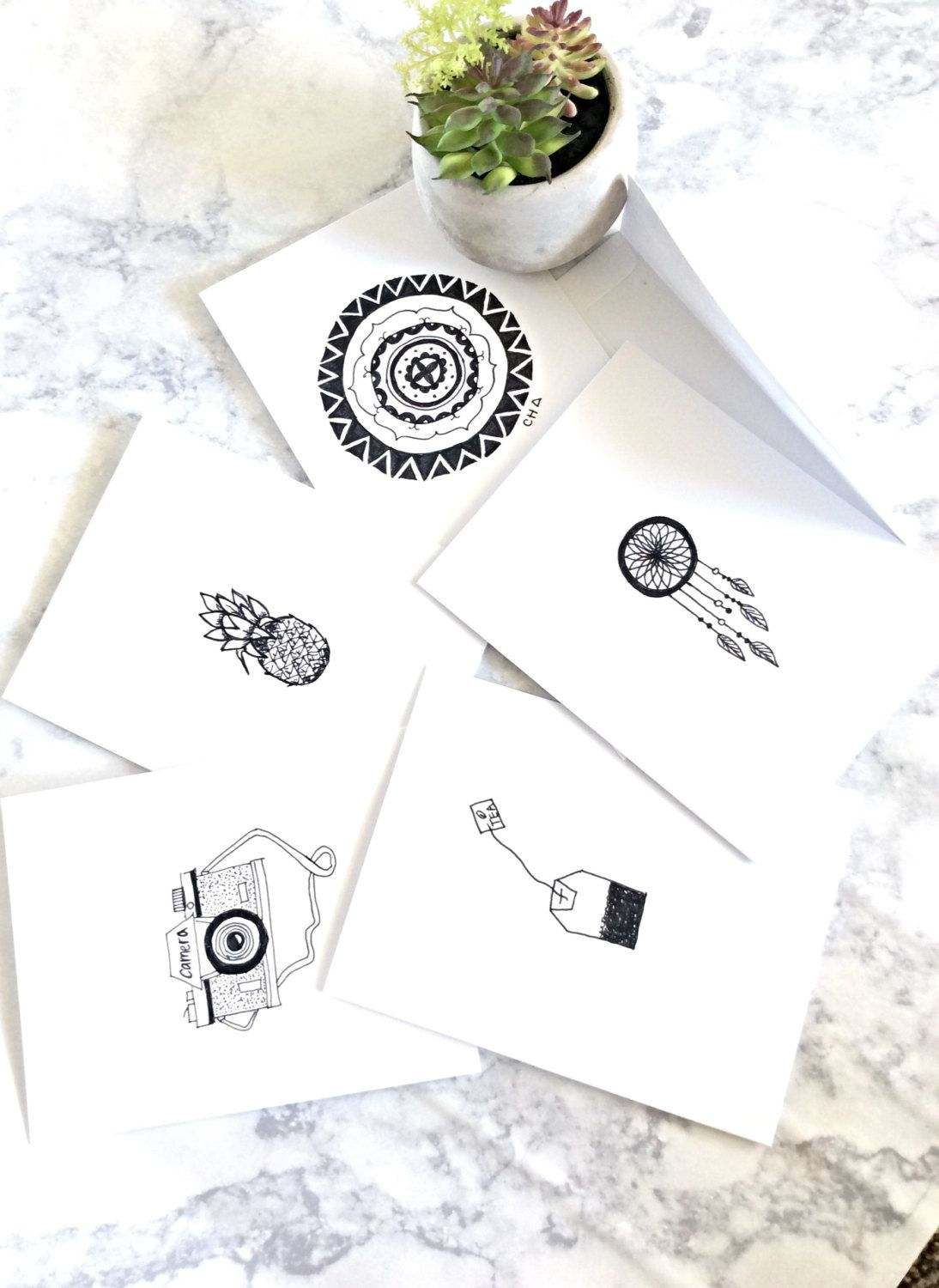 Black And White Picture Greeting Cards Set Of 5 Hand Drawn By