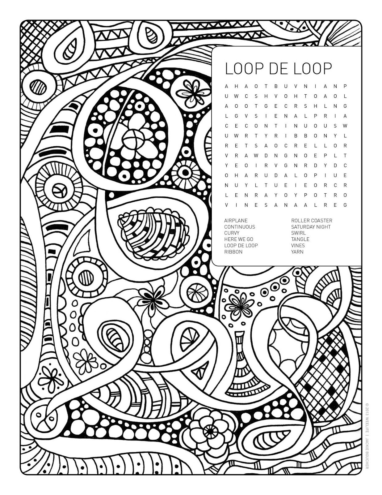 Word Search Coloring Page