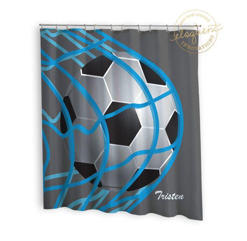 Soccer Shower Curtains Sports Grey Blue Soccer Shower