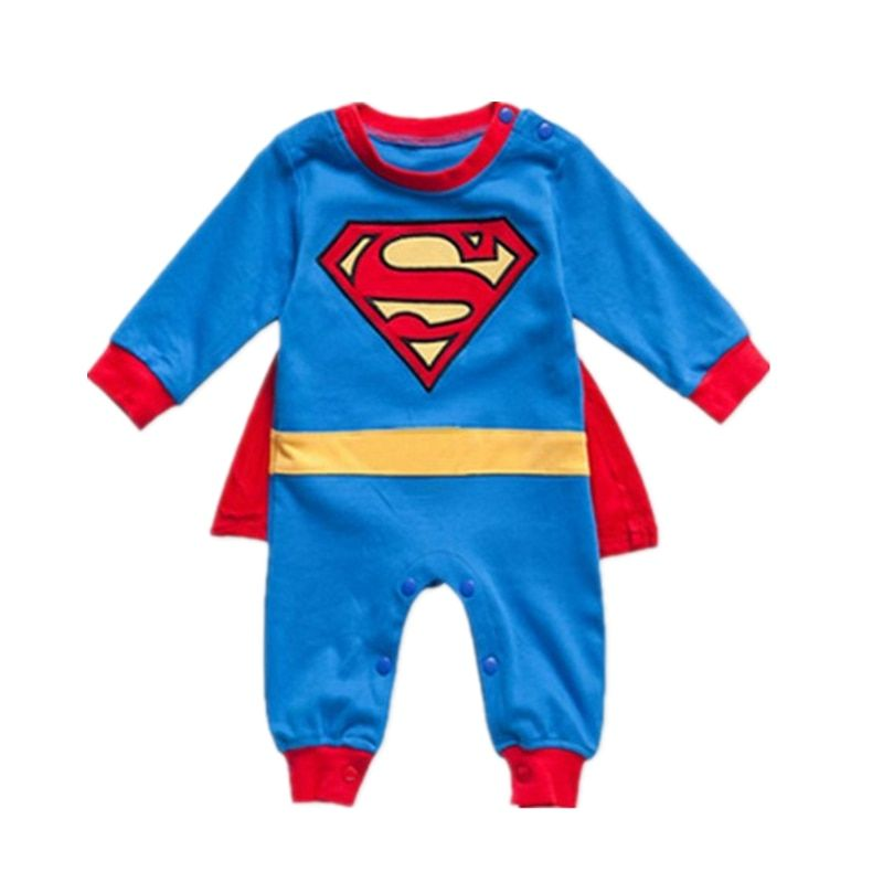 759826b1b 1 Set Long Sleeve Baby Boy Superman Romper With Dress Smock Super Girl  Jumpsuit Infant Costume One-Piece Cartoon Outfit 3 Styles