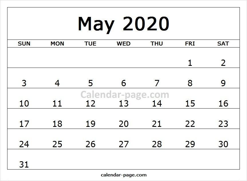 Free Online Blank Template For Calendar 2020 May Printable