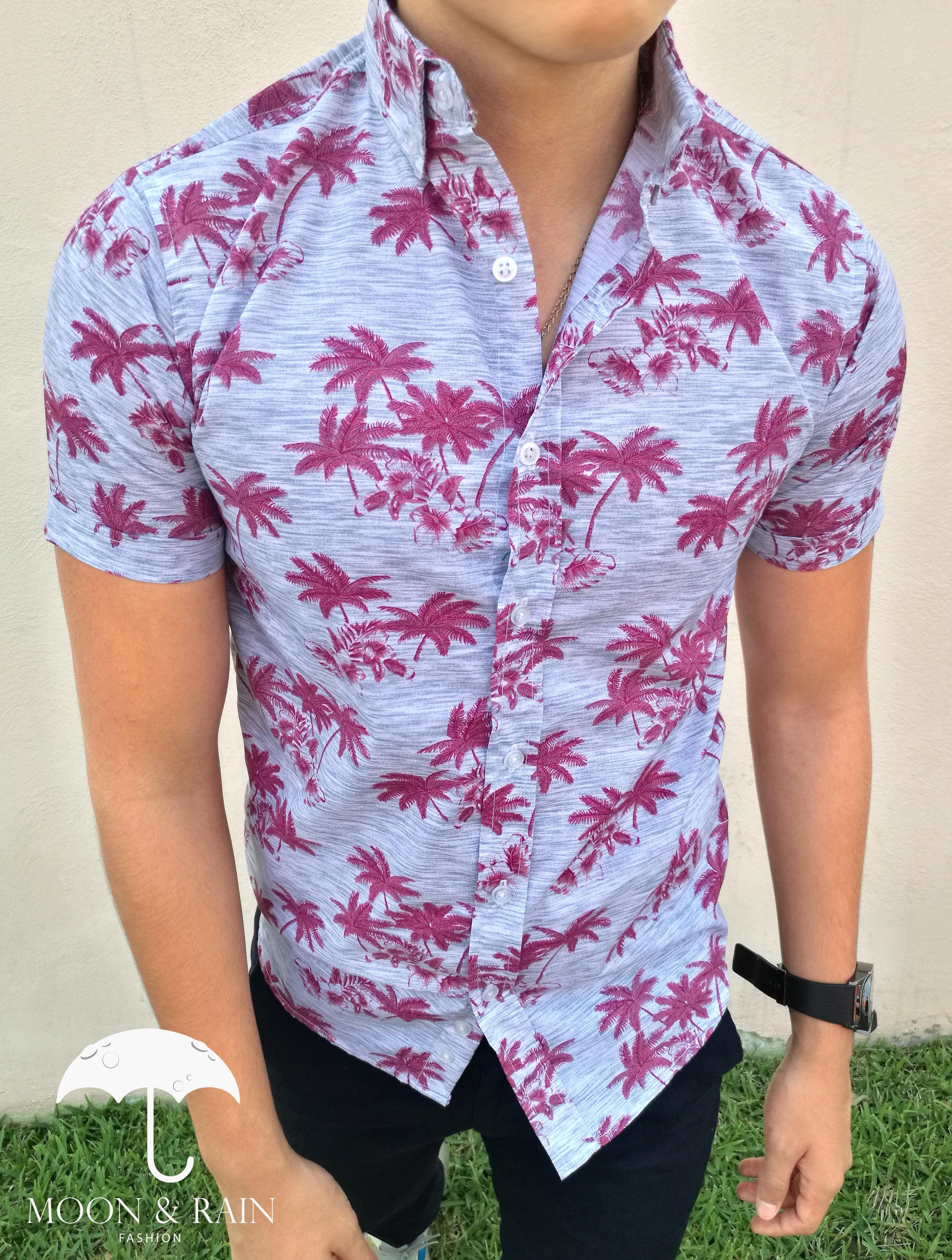 8aa4890f4c Camisa de manga corta para hombre con diseño de palmeras rosas ...