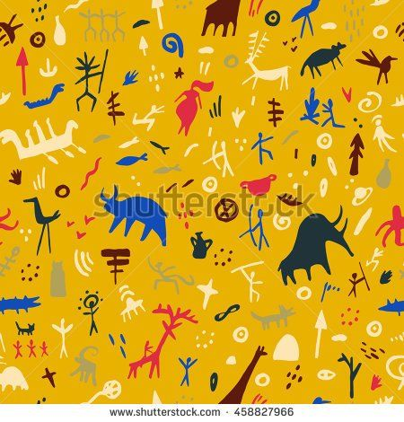 stock-vector-rock-paintings-with-ethnic-people-and-animals-seamless-pattern-vector-illustration-prehistoric-458827966.jpg (450×470)