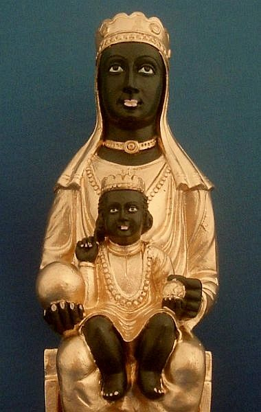7 inches high -- Handpainted Gypsumstone -- Designed after the Black Virgin of Montserrat - Black Madonna with Child Statue