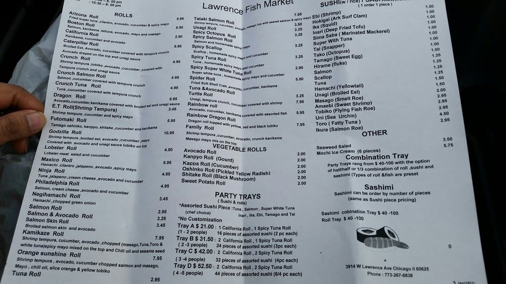 Lawrence Fish Market Chicago Il United States Menu As Of 5 8 16 Lawrence Fish Marketing