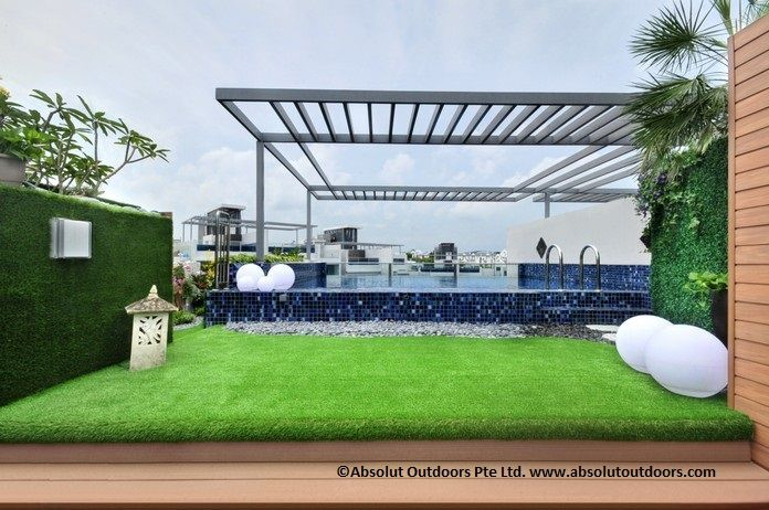 Artificial Turf wall cladding and pool surroundings.