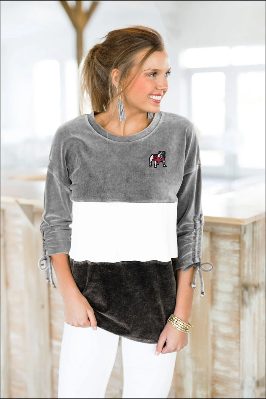 Georgia Bulldogs Strike A Cord Overdyed Vintage Corded Velour Color Block Tunic #ohiostatebuckeyes