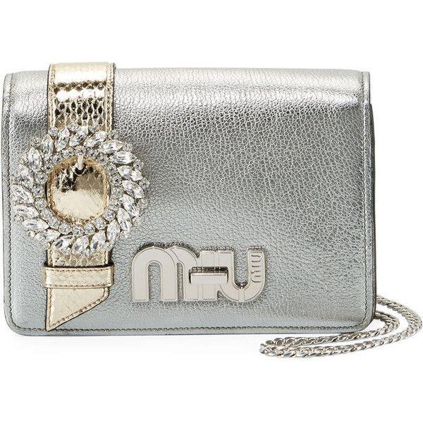 Miu Miu My Miu Small Metallic Jeweled Clutch Bag ( 2 16c7a63e285d4