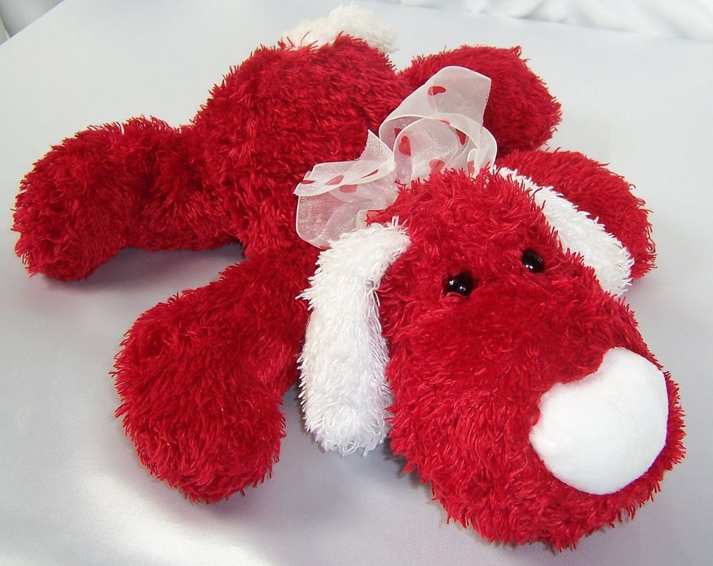 Plush Dog Red White Stuffed Animal with Heart Ribbon