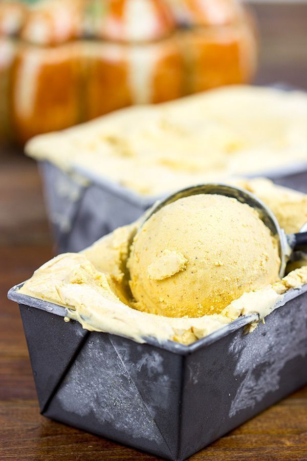 Complete with cinnamon and nutmeg, this Pumpkin Ice Cream tastes just like a slice of pumpkin pie...in ice cream form!