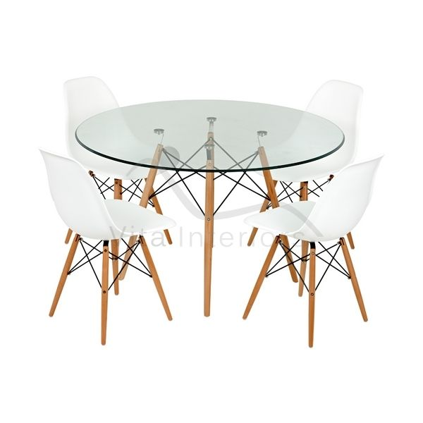 Round Glass Dining Table Charles Eames Reproduction Vita
