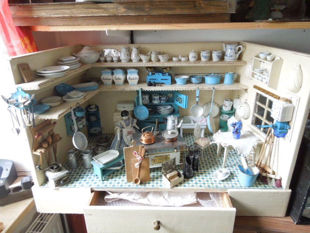 alte puppenstuben k che puppenk che von ca 1910 doll houses pinterest doll houses dolls. Black Bedroom Furniture Sets. Home Design Ideas