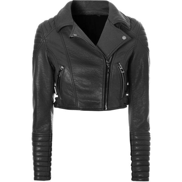 86606f58b6b8bb Black Leather Crop Biker Jacket found on Polyvore
