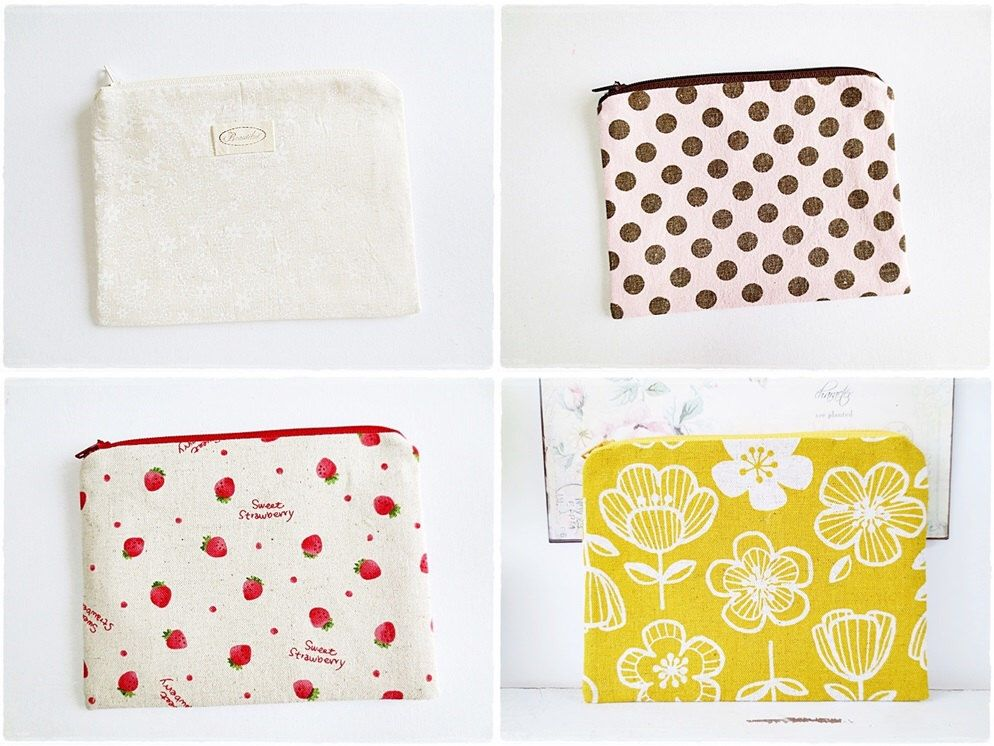 Small zip pouch purse cosmetic pouch makeup pouch travel organizer coin purse cotton linen white yellow flower polkadot strawberry purse by KawaiiSakuraHandmade on Etsy https://www.etsy.com/listing/235142586/small-zip-pouch-purse-cosmetic-pouch