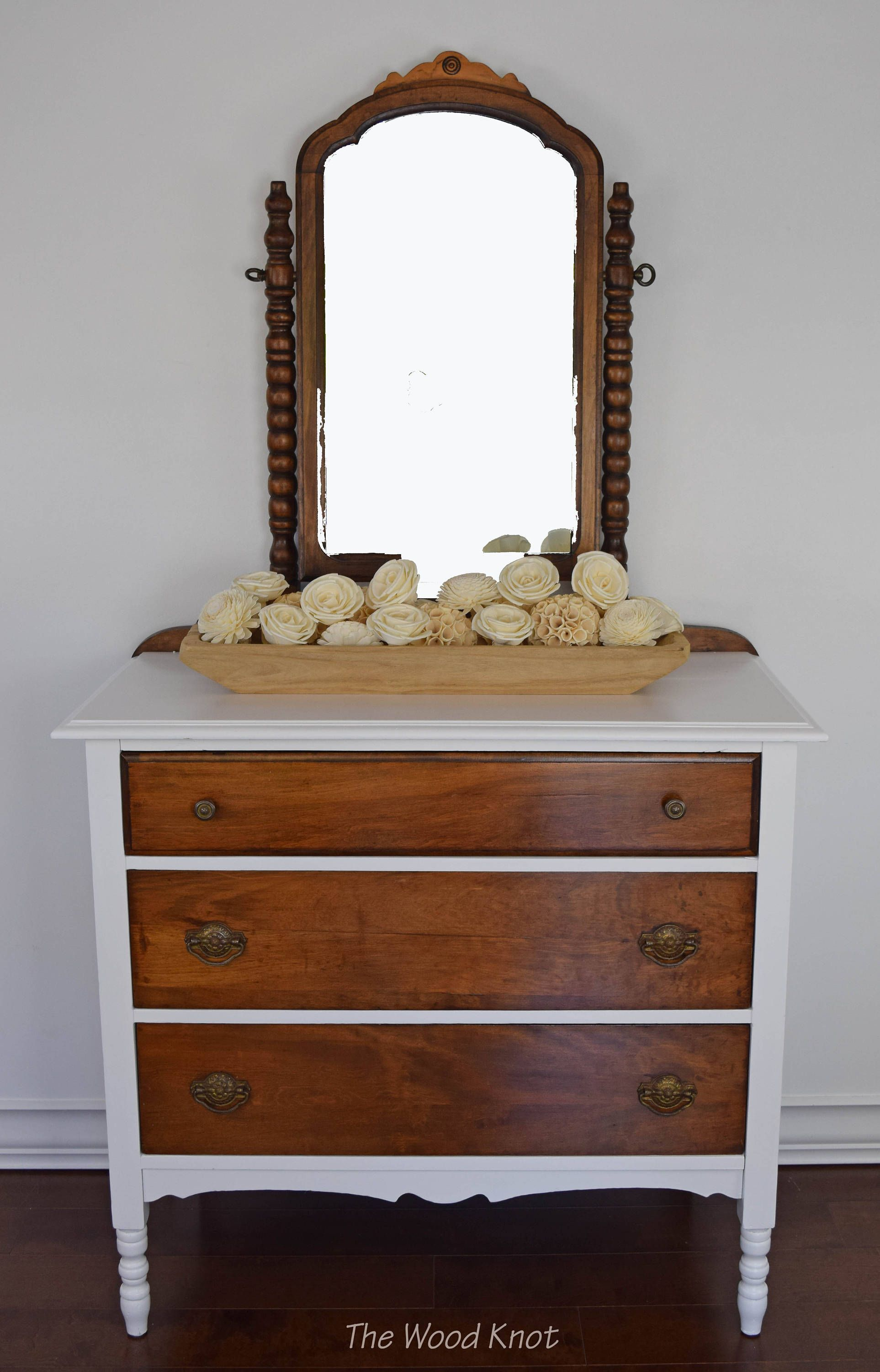 Vintage white dresser with mirror Dark wooden stained for contrast