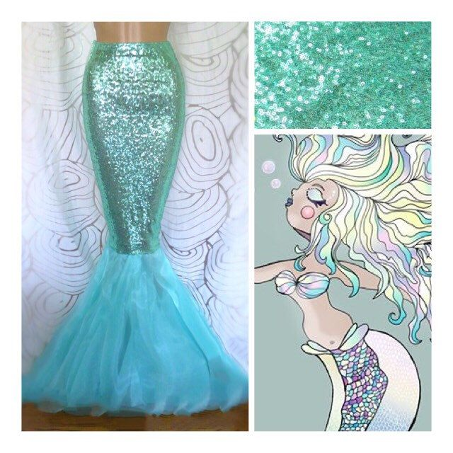 High Waist Sequin Sexy Mermaid Tail Skirt Costume- Aqua Blue by SPARKLEmeGORGEOUS on Etsy https://www.etsy.com/listing/454397012/high-waist-sequin-sexy-mermaid-tail