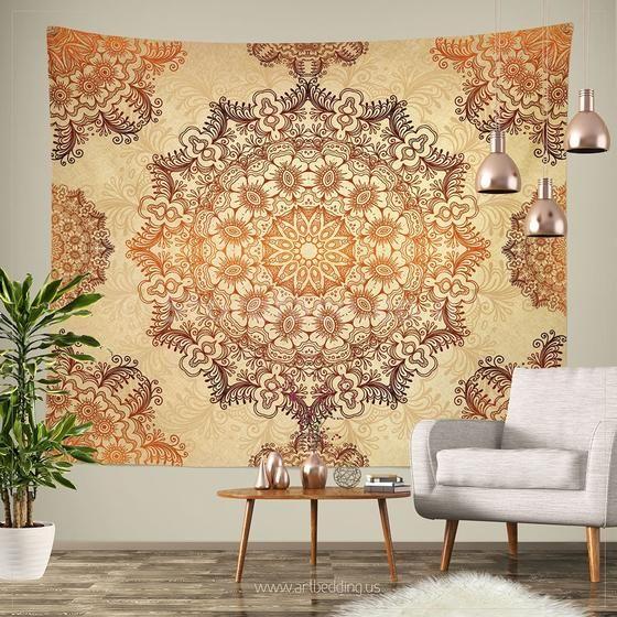 Bohemian Tapestry, Gold mehndi henna tattoo style mandala tapestry ...