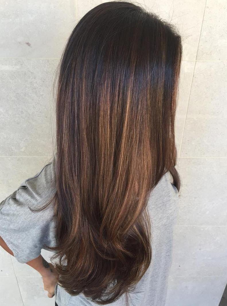 Honey Brown Balayage For Black Hair Balayage Straight Hair Black Hair Balayage Brown Hair Balayage