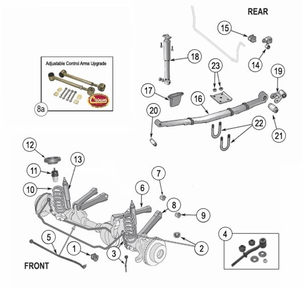 Front End Diagram Trailer Wiring 5 Wire To 4 2000 Jeep Grand Cherokee All Data Xj Suspension Parts Exploded View Years 1984 Chevy Tracker