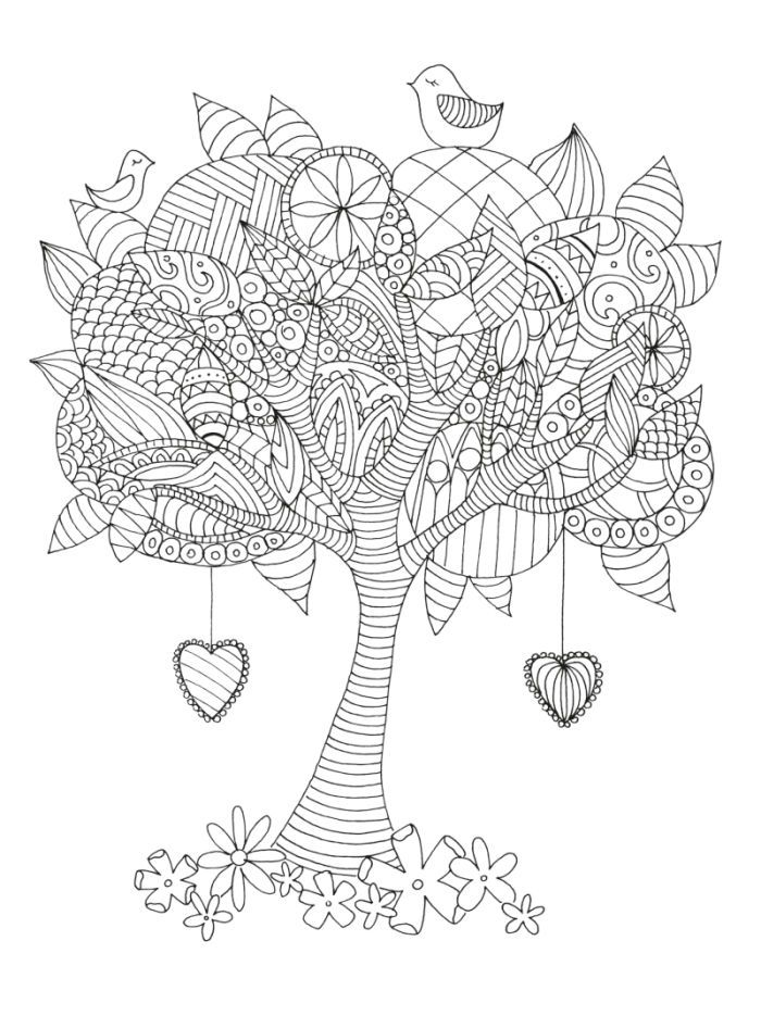 Tree Adult Colouring Coloring Pages Sun Coloring