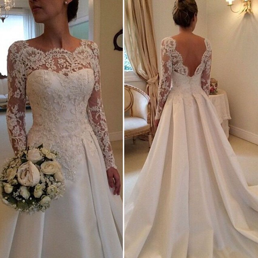 2015 Couture Ivory Lace Long Sleeve Aline Wedding Dresses High Neck