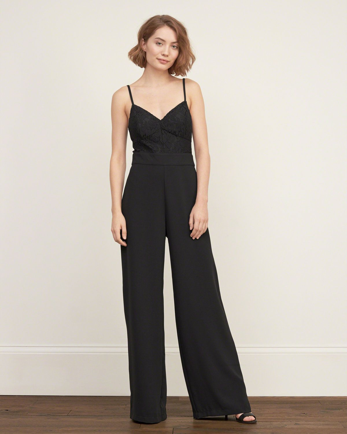 9bc714f77bbe Womens Lace Panel Crepe Jumpsuit