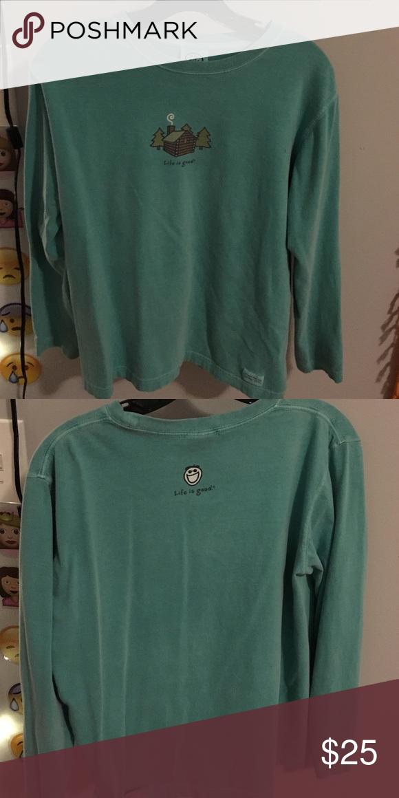 life is good shirt greenish blue 100% cotton Life is Good Tops Tees - Long Sleeve