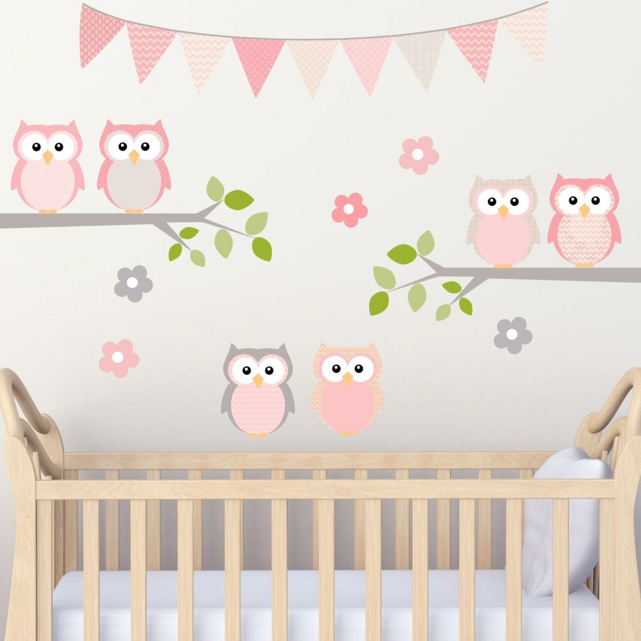 Nursery room owls on branch pink and grey woven fabric adhesive