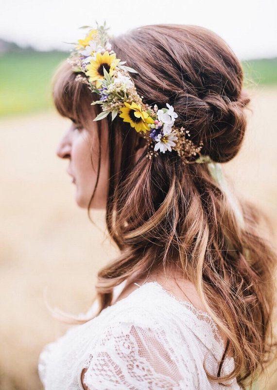 Sunflower Wild Daisy Flower Crown Sunflower Bridal Halo Etsy Daisy Flower Crown Flower Girl Crown Flower Crown Wedding
