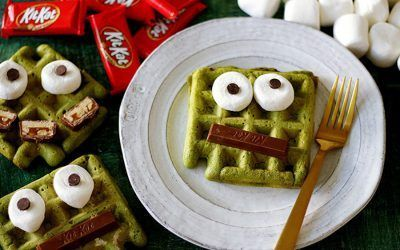 Fun Halloween breakfast ideas for kids: Matcha Monster Waffles at Handmade Charlotte #halloweenbreakfastforkids Fun Halloween breakfast ideas for kids: Matcha Monster Waffles at Handmade Charlotte #halloweenbreakfastforkids