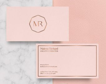 Business And Calling Cards Printable Templates Rose Gold Foil Etsy Foil Business Cards Rose Gold Business Card Beauty Business Cards