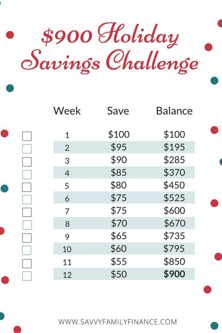 Worksheets Money Challenge Worksheets the 900 12 week holiday savings challenge free challenge