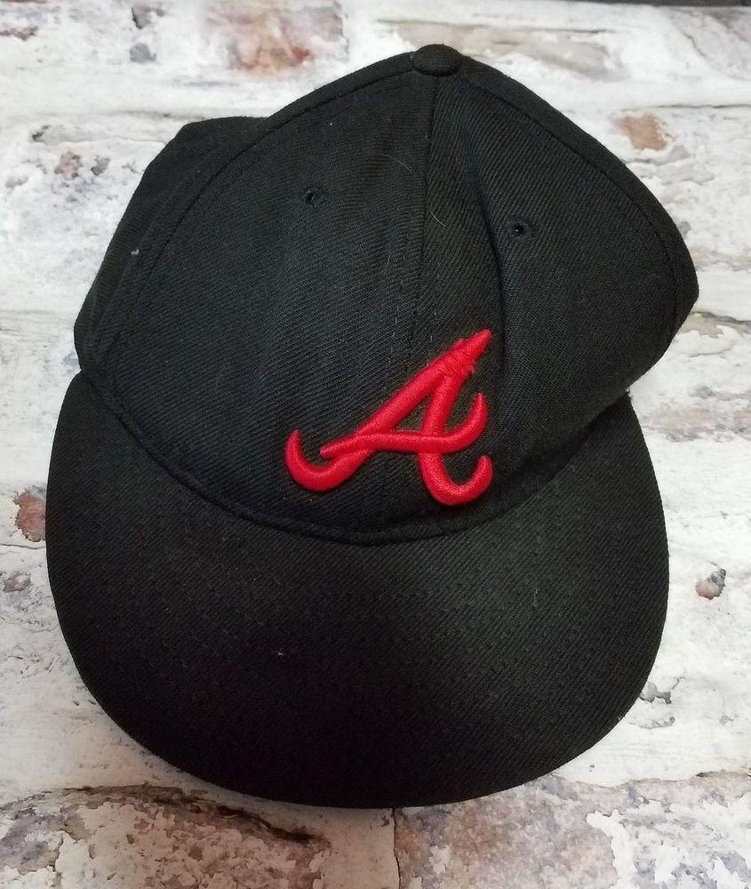 Atlanta Braves Cap New Era 59fifty Black Red Fitted Hat Sz 7 Newera Atlantabraves Fitted Hats Black And Red Atlanta Braves