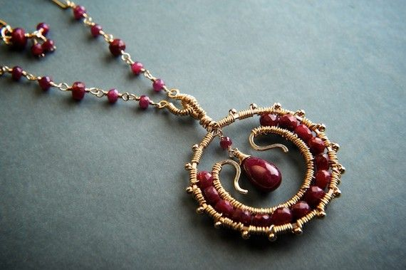 SALE  Mira Necklace in Gold fill and Ruby by GukiKhalsaJewelry