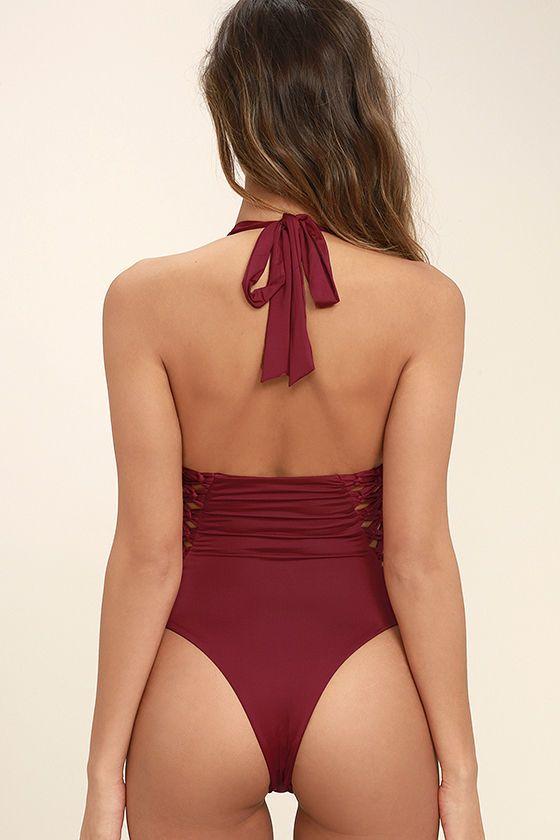 db4c6249a4 Frankies Bikinis Camilla Wine Red One Piece Swimsuit   Fashion ...